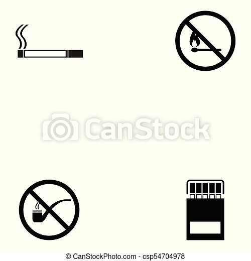 Un juego de iconos fumadores - csp54704978