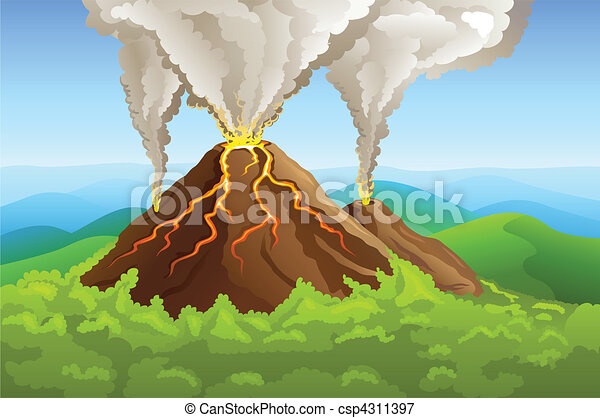 fuming volcano among green mountain - csp4311397