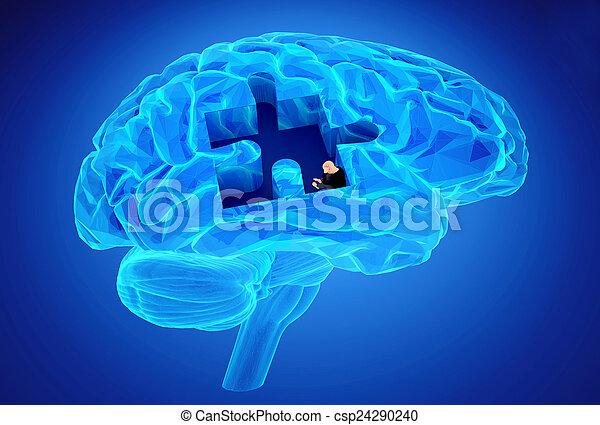 função, perda, memórias, doença, cérebro, demência - csp24290240