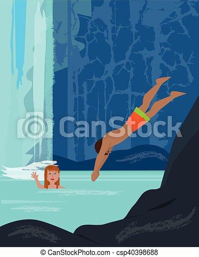 Fun By The Waterfall - csp40398688