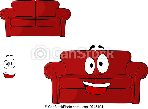 Fun Cartoon Upholstered Red Couch Settee Or Sofa With A Big Happy