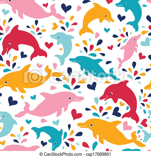 Fun colorful dolphins seamless pattern background - csp17689861