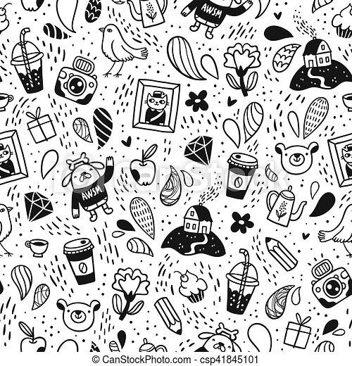 Fun doodle seamless pattern - csp41845101