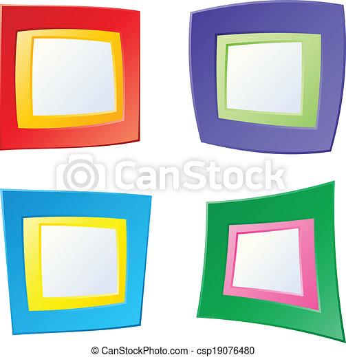 Fun frames. A set of four, bright cartoon frames.
