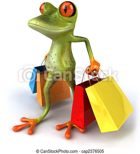 Fun frog with shopping bags - csp2376505