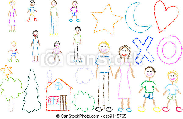 fun kids family crayon drawing csp9115765 - Fun Drawings For Kids