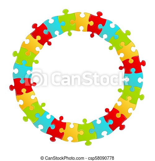Fun kids puzzle frame round form. vector illustration.