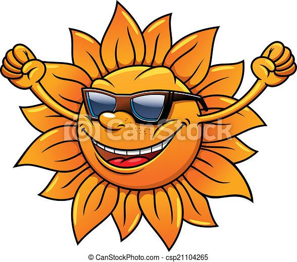 cute cartoon fun loving tropical sun in sunglasses smiling clip rh canstockphoto com  fun in the sun free clipart