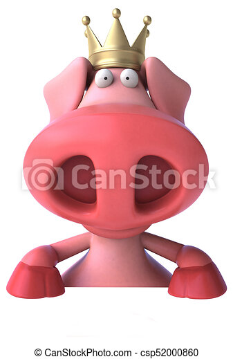 Fun pig with crown - 3D Illustration - csp52000860