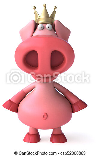 Fun pig with crown - 3D Illustration - csp52000863
