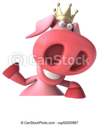 Fun pig with crown - 3D Illustration - csp52000867