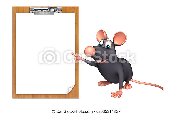 Line Drawing Rat : Fun rat cartoon character with exam pad . 3d rendered drawings
