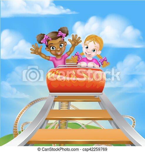 Fun Roller Coaster Kids - csp42259769