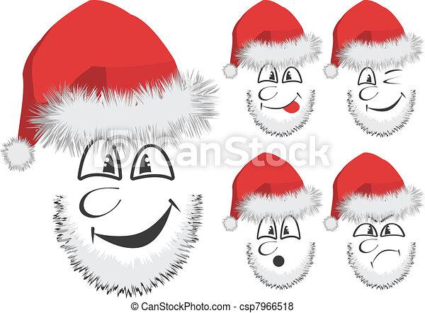 fun santas face vector of 5 fun santa
