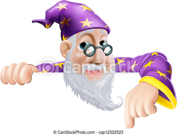 Fun Wizard Pointing Down - csp12322523