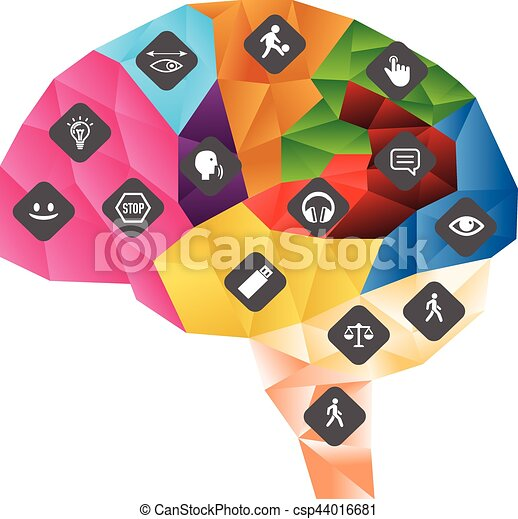 Funcionamiento del sistema nervioso central. Cerebro poligonal con ilustración vectorial de iconos - csp44016681