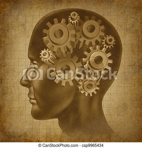 El concepto de la función cerebral grunge - csp9965434