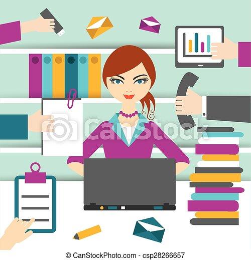 Una secretaria trabajadora. - csp28266657