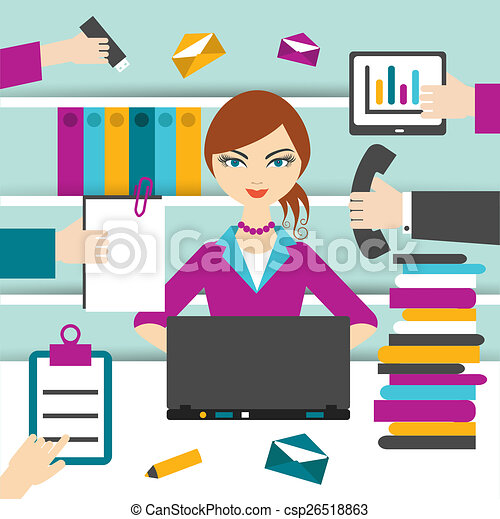 Una secretaria trabajadora. - csp26518863