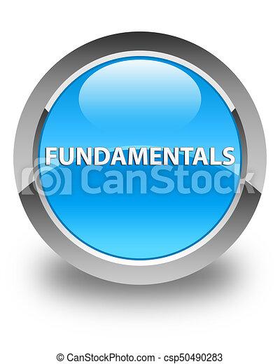 Fundamentals glossy cyan blue round button - csp50490283