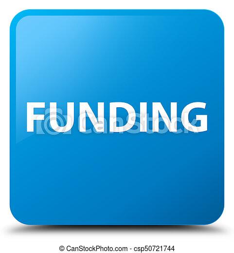 Funding cyan blue square button - csp50721744