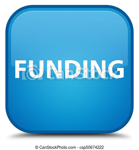 Funding special cyan blue square button - csp50674222