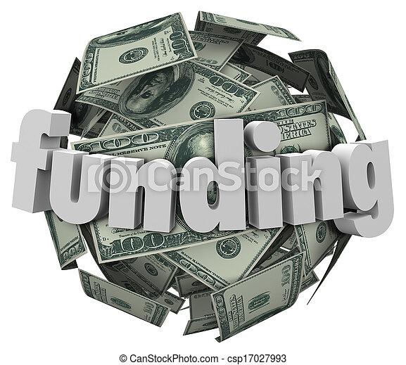 Funding Word Money 100 Dollar Bill Currency Ball - csp17027993
