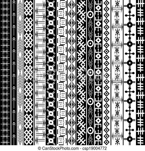 fundo, étnico, textura, geométrico, pretas, arabescos, africano, branca, ornamentos - csp19004772