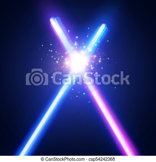 fundo, abstratos, néon, war., batalha, logotipo, raios, flash, espadas, dois, glowing, coloridos, clube, space., particles., ilustração, fight., luz laser, emblem., vetorial, cruzado, estrela, cruzamento, sabers, ou - csp54242368