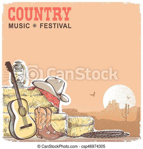 fundo, americano, equipamento música, boiadeiro, guitarra, país - csp46974305