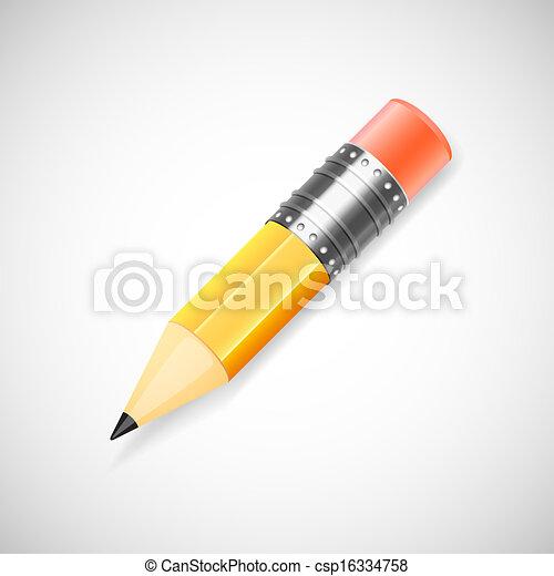 fundo branco, isolado, lápis amarelo - csp16334758