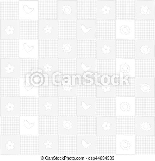 fundo, flores, branca, corações - csp44634333