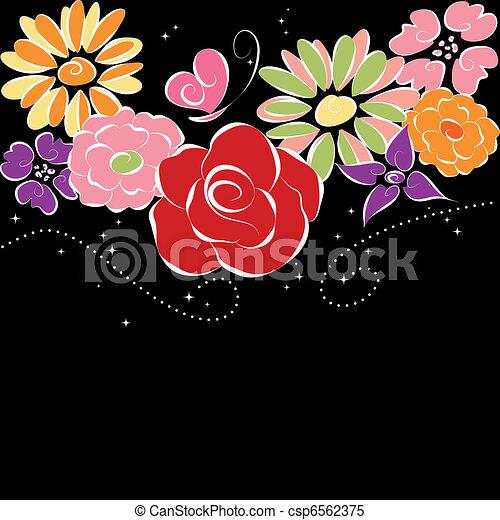 fundo, flores, pretas, springtime, coloridos - csp6562375