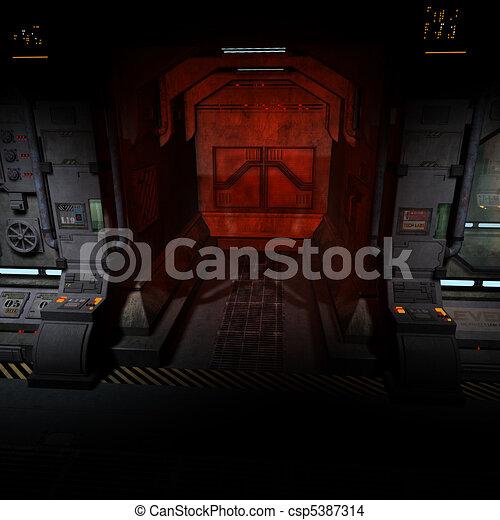 fundo, imagem, escuro, corredor, spaceship., bord - csp5387314