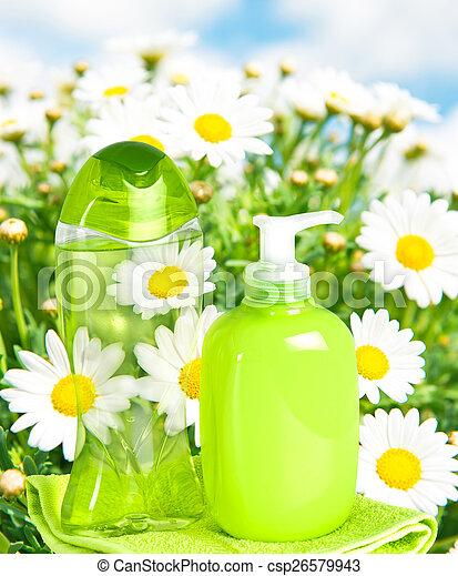 fundo, líquido, natureza, garrafa plástico, sabonetes - csp26579943
