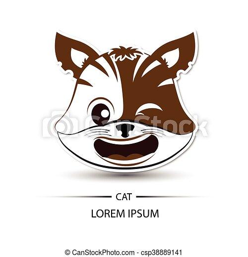 fundo rosto vetorial riso logotipo gato branco fundo