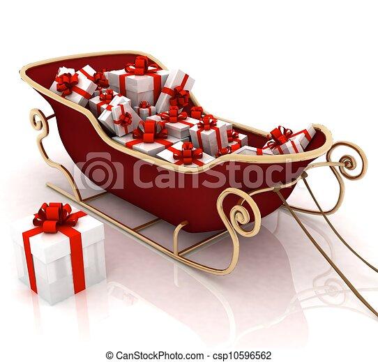 fundo, trenó, presentes, santa, christmas branco - csp10596562