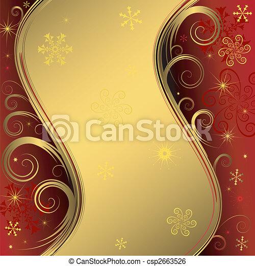fundo, (vector), natal, dourado, vermelho - csp2663526