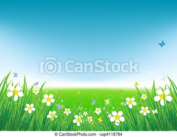fundo, verão, campo verde, borboletas - csp4118784