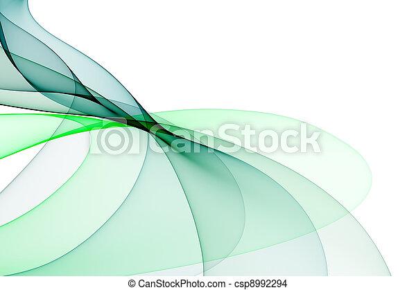 fundo, verde liso, tons, ondas, branca - csp8992294