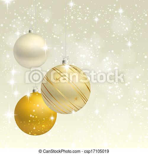 fundo, vetorial, ornamento, cartão natal - csp17105019