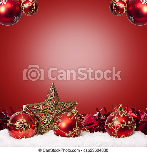 funds with traditional Christmas decoration and Christmas holidays - csp23604838