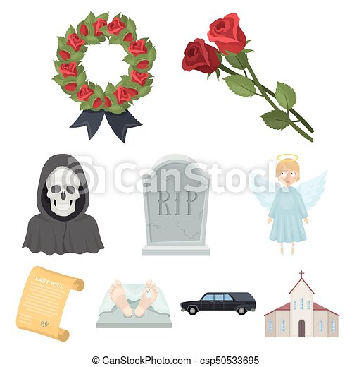 Funeral ceremony, cemetery, coffins, priest.Funeral ceremony icon in set collection on cartoon style vector symbol stock illustration. - csp50533695