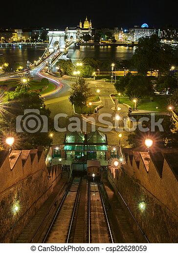 Funicular por la noche en budapest - csp22628059