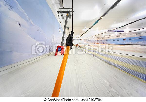 funicular, mountain;, interior, -, arriba alto, yendo, vista, escarpado, esquí de velocidad - csp12192784