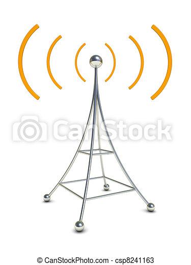 Funkantennen. Antenne, symbol, abbildung, radio, hintergrund, weißes ...