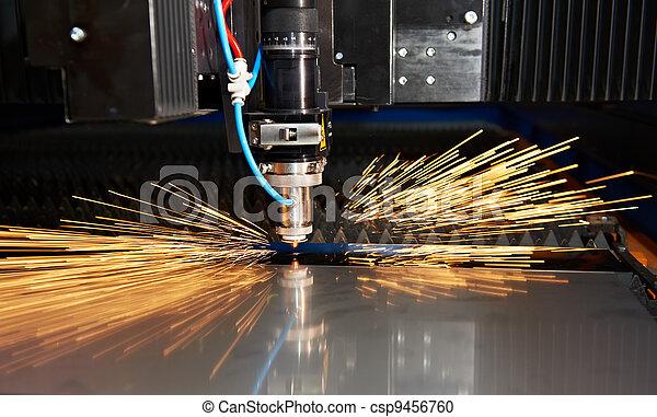 Funken Metall Schneiden Laser Blatt Herstellung Wohnung