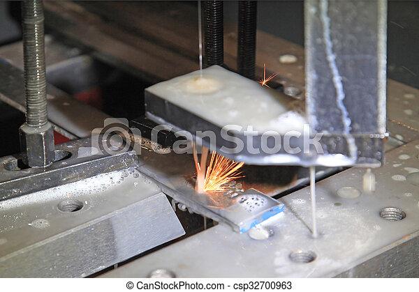 Funken, schneiden, metall, elektrisch, methode. Maschine, schnitt ...