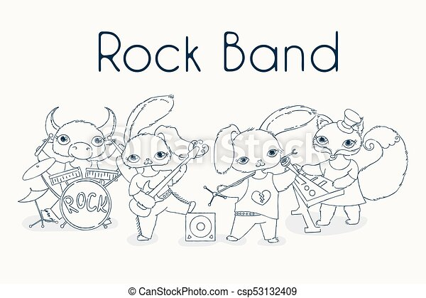 Funky Animals Rock Band Cute Children Music Illustration Vector