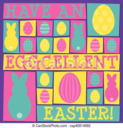 Funky Easter card in vector format. - csp45814992